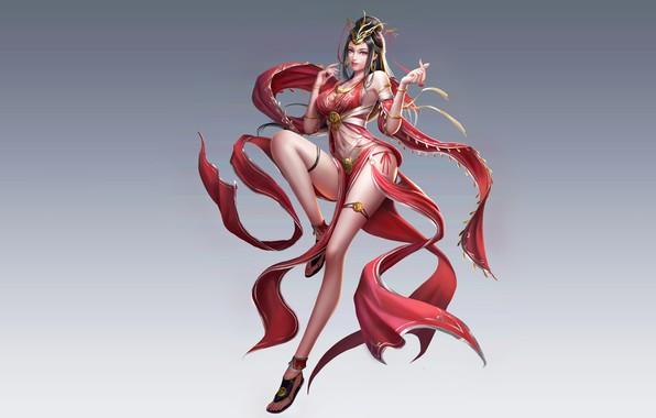 Картинка Girl, Beautiful, Art, Style, Fiction, Characters, Dress, Figure, Three Kingdoms, An Hua