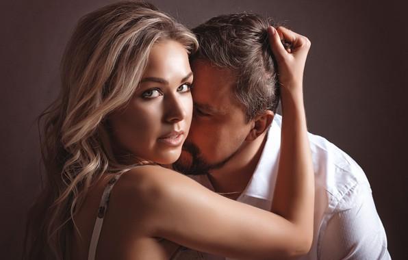Картинка взгляд, девушка, лицо, фон, рука, парень, влюблённые, Марина Валек