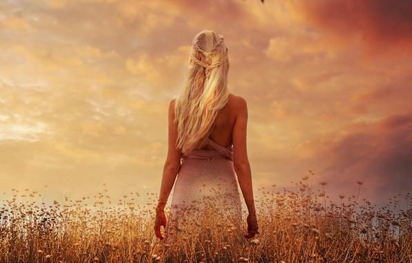 Картинка поле, небо, облака, закат, цветы, волосы, спина, растения, фигура, платье, актриса, луг, арт, прическа, блондинка, …