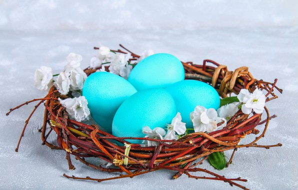 Картинка цветы, яйца, Пасха, корзинка, flowers, eggs, easter, decoration