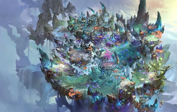 Картинка игра, остров, фэнтези, арт, локация, окружение, zhong wenhao, ditusheji