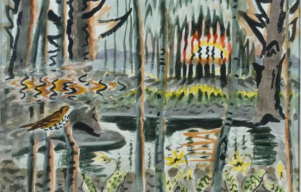 Картинка 1950, Charles Ephraim Burchfield, Song of the Wood Thrush