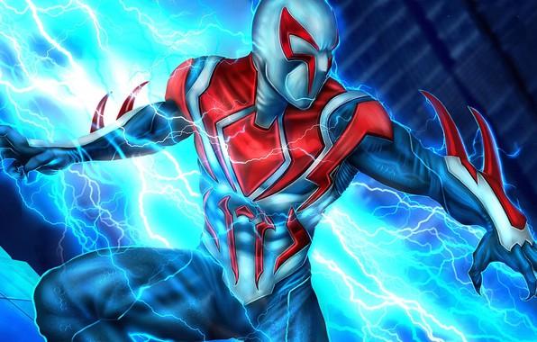 Картинка будущее, человек-паук, молнии, future, костюм, Мигель О'Хара, spider-man 2099