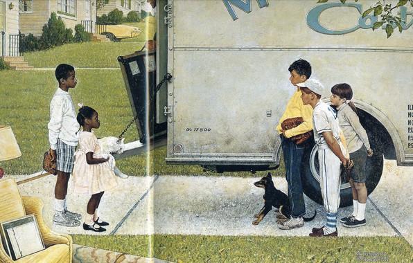 Картинка дети, собачка, Иллюстрация, белый пушистый кот, Норман Роквелл, New Kids in the Neighbourhood 1967