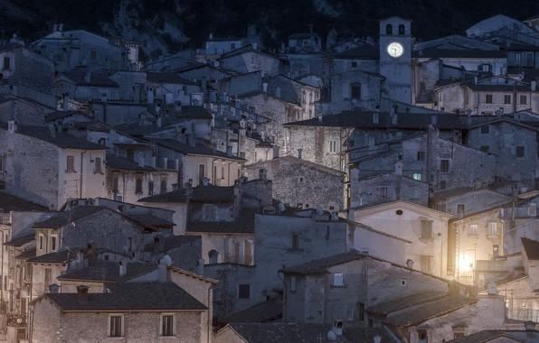Картинка ночь, город, дома