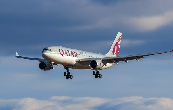 Картинка лайнер, Airbus, Qatar Airways, A330-202