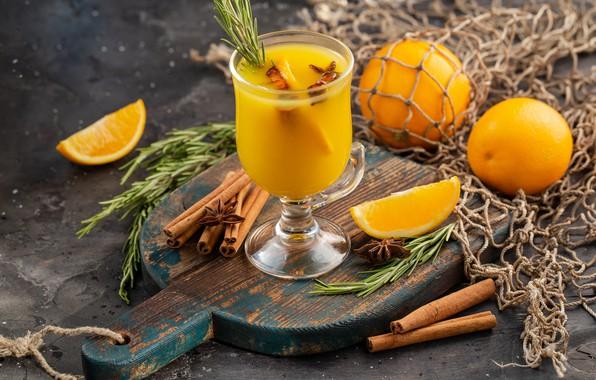 Фото обои апельсин, сок, цитрус, корица