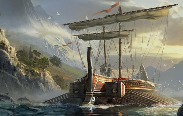 Картинка мультиплатформенная компьютерная игра, Eddie Bennun, Assassin's Creed:Origins, Greek Trireme