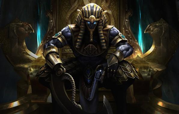 Картинка Египет, Fantasy, Art, Фантастика, Трон, God, Револьвер, Ares, Horus, by Ares, Egyptian Pharaoh