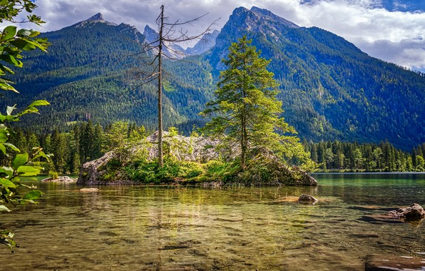 Картинка небо, деревья, пейзаж, горы, природа, озеро, красота