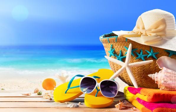 Картинка песок, море, пляж, лето, звезда, отпуск, шляпа, очки, ракушки, summer, сумка, beach, sand, сланцы, vacation, …