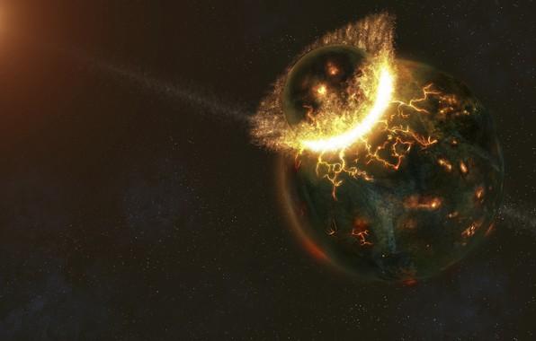 Картинка огонь, планеты, катастрофа, удар, разрушение, столкновение