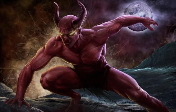 Картинка красный, луна, демон, рога, demon, moon