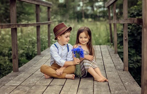 Картинка цветы, природа, дети, чувства, мальчик, дружба, девочка, друзья, букетик, васильки, мосток, Виктория Дубровская