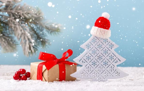 Картинка зима, снег, украшения, подарок, елка, Новый Год, Рождество, Christmas, winter, snow, New Year, gift, decoration, …