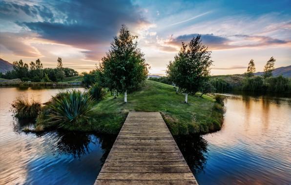 Картинка Nature, sky, trees, landscape, bridge, clouds, lake, pier