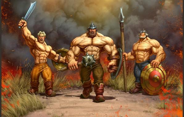 Картинка лето, настроение, Русь, три богатыря, Stepan Gilev, A hero with musculature.