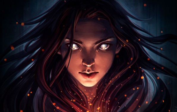 Картинка взгляд, девушка, лицо, волосы, фэнтези, арт, art