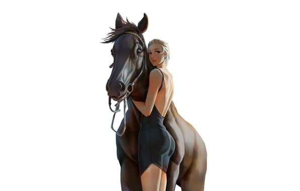 Картинка Girl, Horse, jingxu yang, by jingxu yang