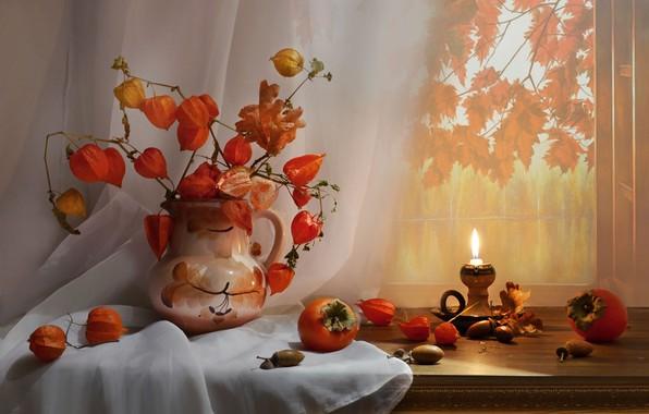 Картинка фото, свеча, ветка, ваза, натюрморт