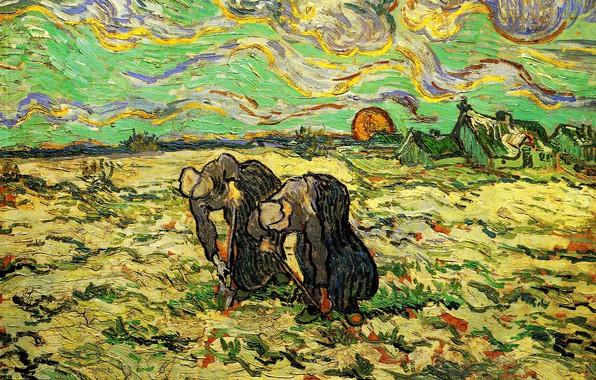 Картинка солнце, облака, Vincent van Gogh, женщины работают в огороде, Two Peasant, Women Digging in, Field …