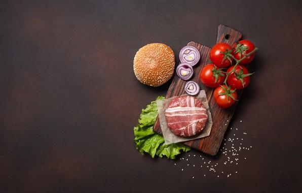 Картинка лук, мясо, доска, помидоры, гамбургер, булочка