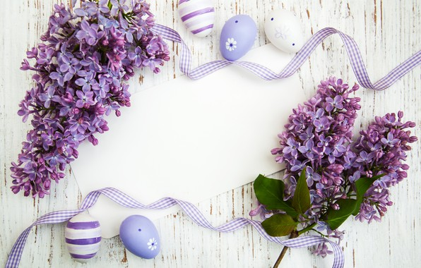 Картинка цветы, яйца, Пасха, happy, wood, flowers, сирень, Easter, purple, eggs, decoration, lilac