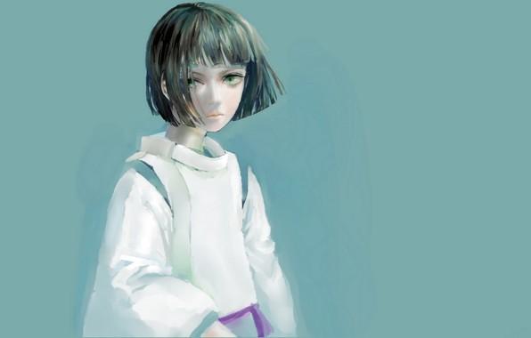Картинка стрижка, мальчик, голубой фон, зеленые глаза, челка, Haku, Spirited Away, Унесенные призраками