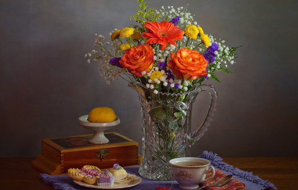 Картинка лимон, чай, розы, букет, пирожные