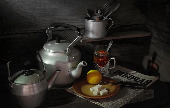 Картинка лимон, чайник, газета, натюрморт, Чай, сахар рафинад, фотограф Сергей Фунтовой