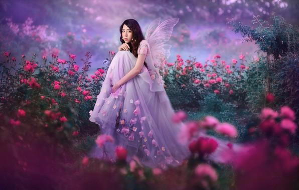 Картинка девушка, природа, бабочка