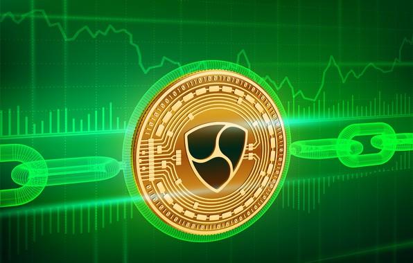 Картинка green, лого, цепь, fon, coin, blockchain, xem, nem, нэм