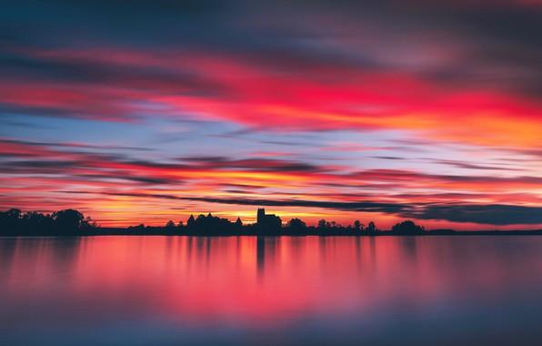 Картинка ночь, озеро, замок, Trakai, Lietuva
