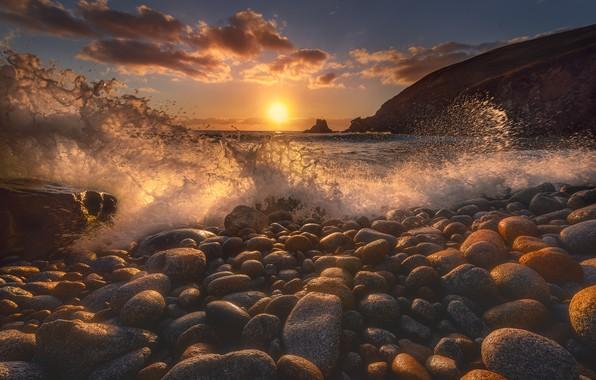 Картинка пляж, галька, волна, Солнце, beach, sun, wave, pebbles, Jose Liñeira Piñeiro