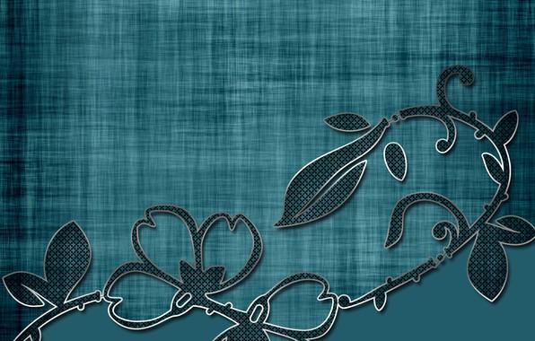 Картинка листья, цветы, зеленый, фон, текстура