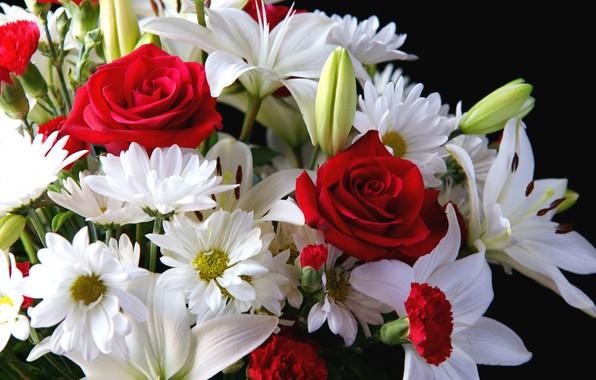 Картинка цветы, фон, лилии, розы, букет