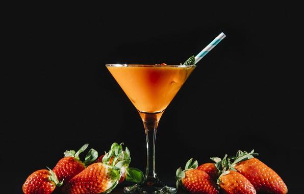 Картинка ягоды, клубника, коктейль, напиток