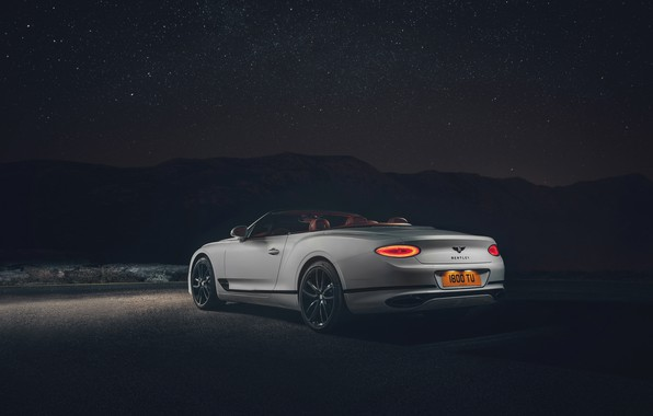 Картинка ночь, Bentley, Continental GT, вид сзади, Convertible, 2019