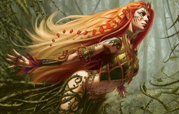 Картинка украшения, движение, перья, Steve Argyle, рыжеволосая, красивая девушка, feathers, rush, beautiful girl, fantasy art, ornaments, …