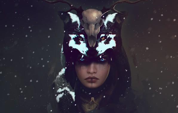 Картинка взгляд, девушка, снег, череп, волк, олень, арт, рога, шаман