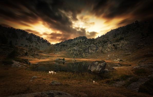 Картинка горы, тучи, озеро