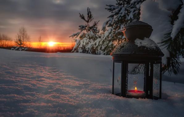Картинка зима, солнце, лучи, снег, деревья, пейзаж, природа, рассвет, свеча, утро, ели, фонарь, Андрей Чиж