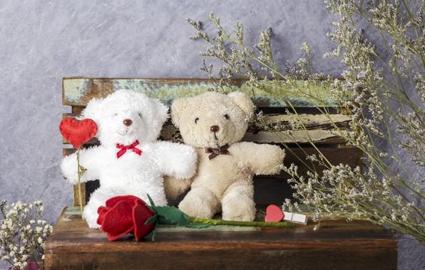 Картинка любовь, цветы, подарок, игрушка, сердце, розы, мишка, red, love, bear, heart, wood, flowers, romantic, teddy, …