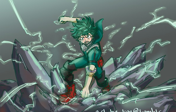 Картинка арт, парень, My Hero Academia, Boku No Hero Academia, Мидория Изуку, Моя Геройская Академия