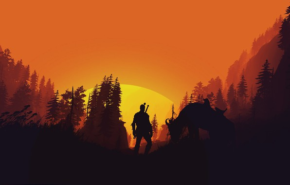 Картинка fantasy, game, forest, The Witcher, trees, sun, horse, weapons, digital art, artwork, warrior, swords, fantasy …