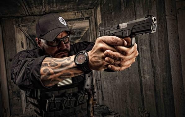 Картинка Ruger, semi-automatic pistol, полуавтоматический пистолет, Ругер, Sturm Ruger & Co, Ruger American Pistol, самозарядный 9-мм …