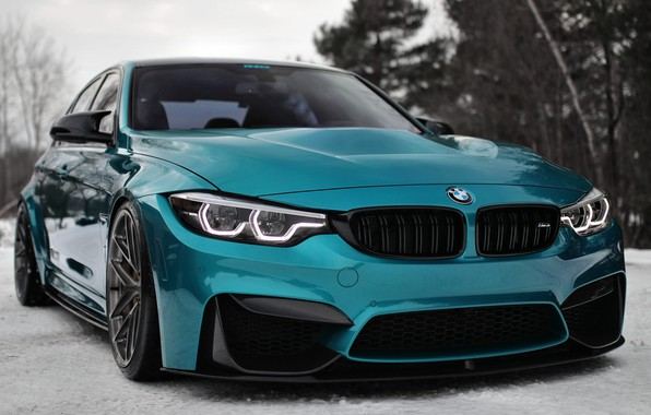 Картинка BMW, Winter, Snow, F80, Sight, LED, Angel eyes