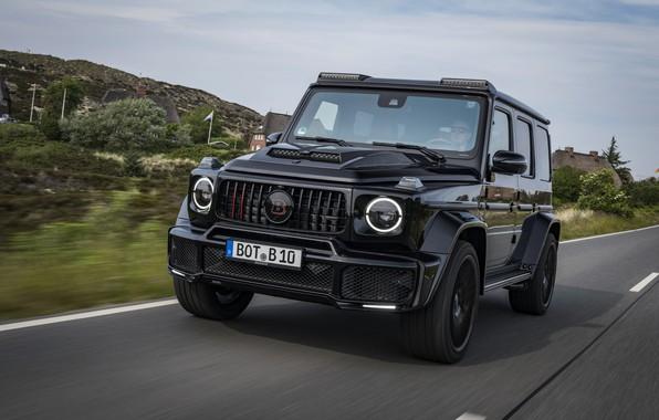 Картинка дорога, чёрный, Mercedes-Benz, внедорожник, Brabus, AMG, G-Class, G63, G 63, 2019, W464, Black Ops 800