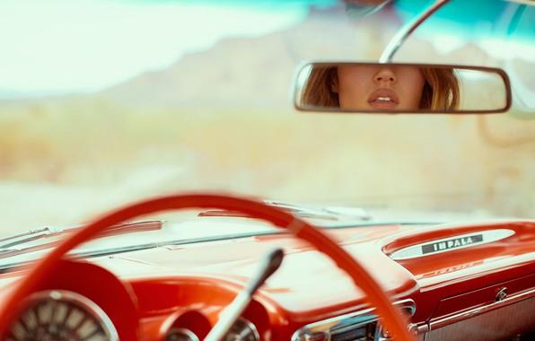 Картинка красный, отражение, панель, зеркало, губы, салон, retro, Chevrolet Impala, DEREK HEISLER