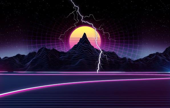 Картинка Солнце, Горы, Музыка, Звезды, Молния, Космос, Фон, Графика, 80s, 80's, Synth, Retrowave, Synthwave, New Retro ...